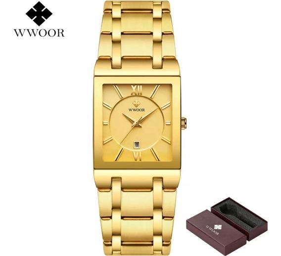 Wwoor Relógio Analógico Masculino Quadrado Original Barato