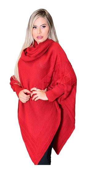 Blusa Poncho Kimono Tricot Inverno Aaran Linha Tamanho M