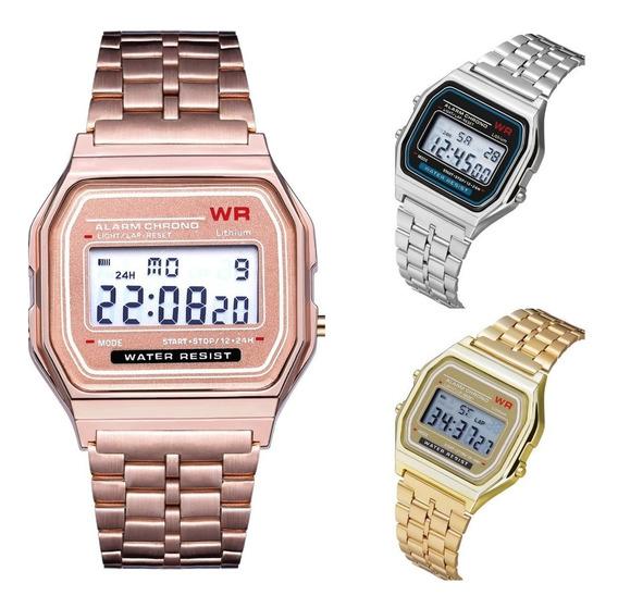 Lote 10 Relojes Metal Led Rosado Dama Caballero Mayoreo