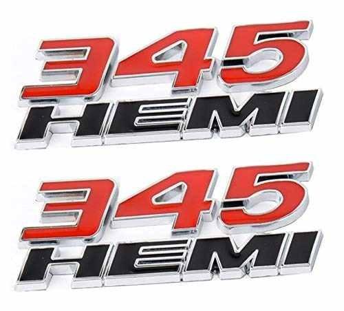 Yuauto 2 Pack 345 HEMI 345HEMI Emblem Badge Decal 3D Logo for Dodge Challenger