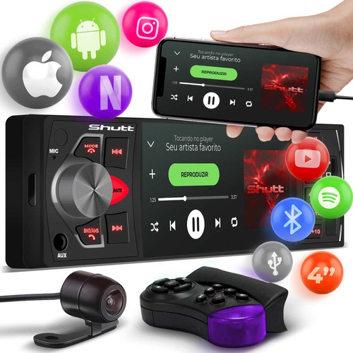 Imagem 1 de 8 de Player Shutt Los Angeles 1din 4pol Bluetooth Usb Sd Auxiliar