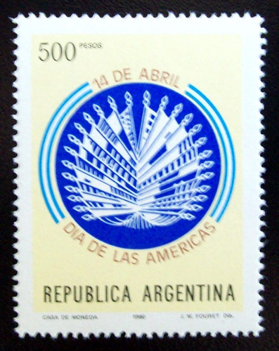 Argentina, Sello Gj 1909 Día De Las Américas 80 Mint L5174