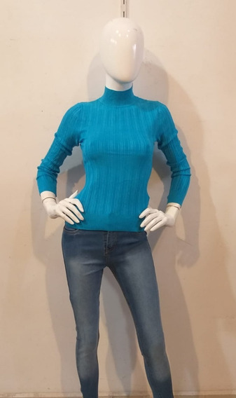 Sueter Con Cuello De Tortuga En Color Azul Para Dama
