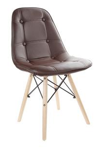 Cadeira Estofada Fixa Escritório Charles Eames Marrom