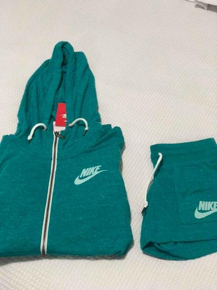 Campera Talle M+ Short Xs Nike De Algodón Verde