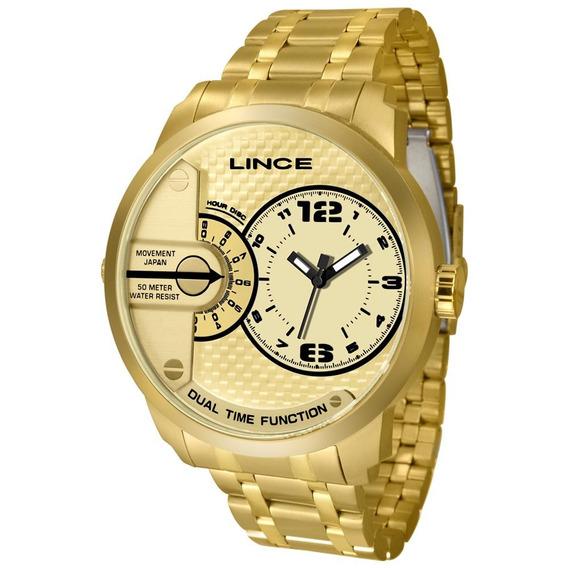 Relógio Lince Masculino Dourado Mrgh049s P2kx
