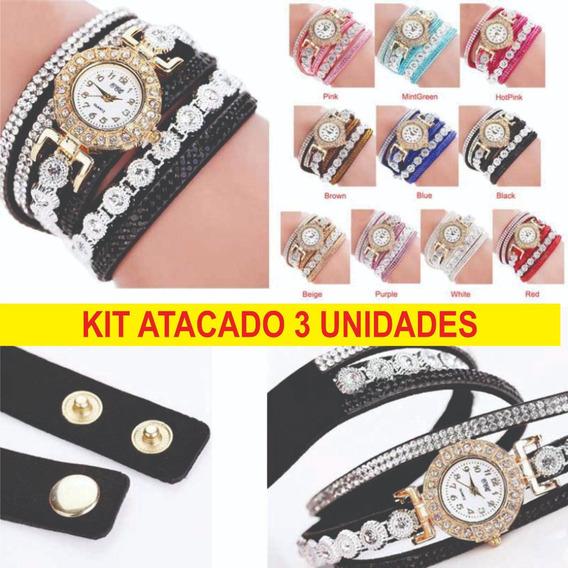 Kit Revenda 3 Relogios Ccq Pulseira Feminina Vintage