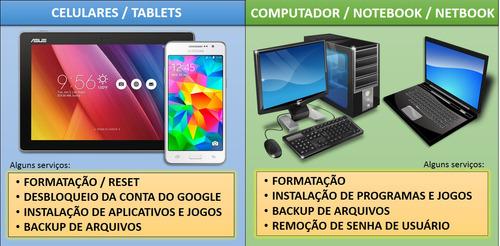 Formatação De Computadores, Notebooks E Smartphone  Em Geral