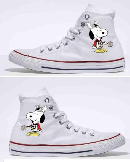 Zapatos Dama Botin Snoopy Thor Pintados A Mano