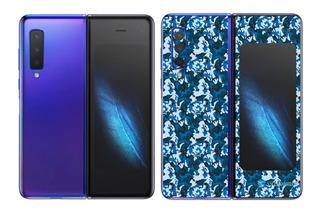 Galaxy Fold Adesivo Skin Película Tras Camo Azul
