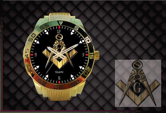 Relógio De Pulso Personalizado Maçonaria Maçon - Cod.1127