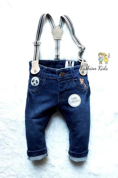 Calça Jeans De Bebê Com Suspensório