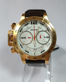 Relógio Masculino Dourado Magnum Pulseira Couro Ma33666h.
