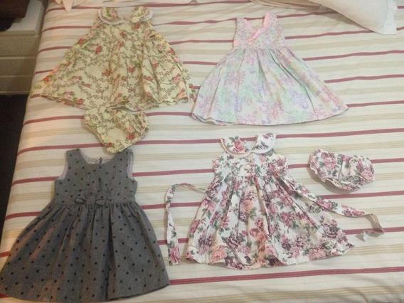 Lote 4 Vestidos Tamanho 2 Anos Pouco Uso Frete Gratis 149,99