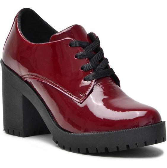 Sapato Oxford Cano Curto Salto Grosso Tratorado Verniz Vinho