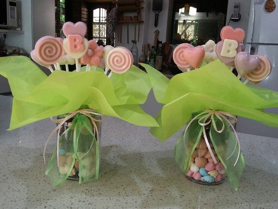 Centros De Mesa De Chocolate , Flores,corazones,paletas.