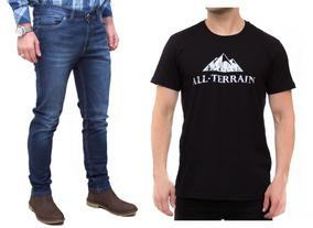 Kit Masculino Calça Jeans Camisa Malha Preta All Terrain Atr