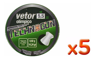 Kit 5 Chumbinho Technogun Vetor Olímpico 5.5mm 250un.