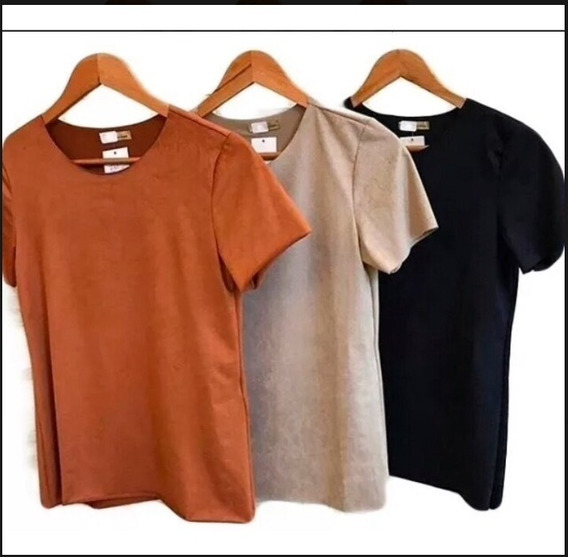 Blusa De Suede T-shirt Blusinha Podrinha Moda Feminina 2019