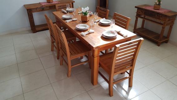 Mesa De Jantar Madeira 2m Pé Trabalhado + 6 Cadeiras, Conjunto Perfeito, Combina Com Todo Tipo De Decoração Do Ambiente