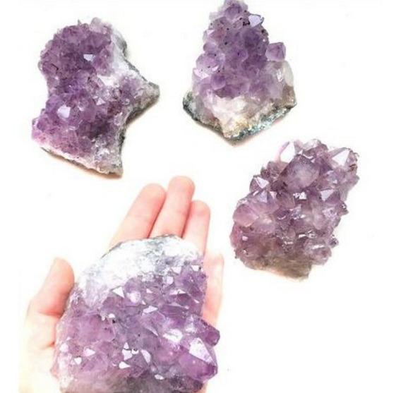 Kit 4 Mini Drusa De Ametista Pedra Cristal Natural Atacado