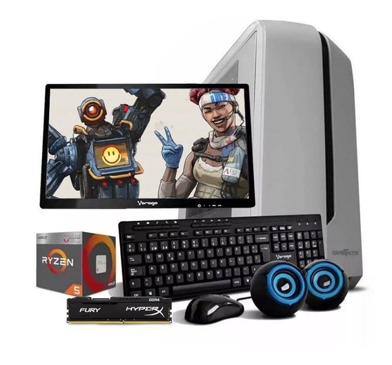 Computadora Pc Cpu Gamer Ryzen 5 Vega 11 1tb 8gb Monitor /k