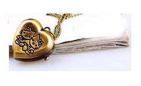 Relógio Colar Hello Kitty Bronze Vintage Coração