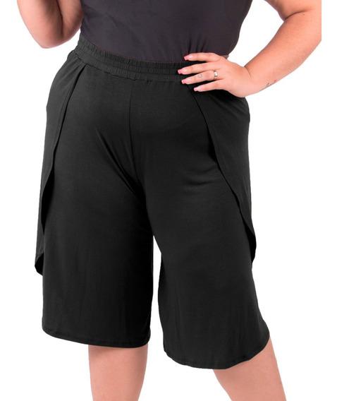 Shorts Bermuda Plus Size Primavera Verão Cintura Alta