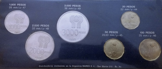Blister C/ 6 Monedas (3 De Plata). Argentina 78. Cuño 77