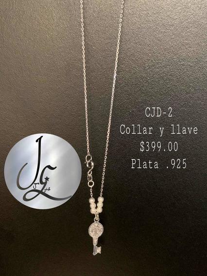 Collares Plata Con Llave De Joyería Estrella, ( Plata .925)