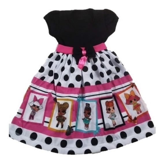 Vestido Infantil Boneca Lol Bolinhas Malha - Roupa/fantasia