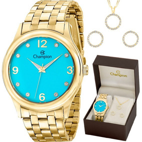Kit Relógio Champion Feminino Com Colar E Brincos Cn28991y