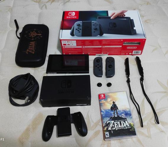 Nintendo Switch Cinza - Xaw10006 - 32gb/128gb + Jogo + Case