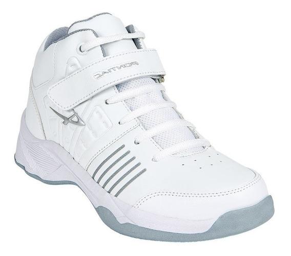 Calzado Kids Niño Tenis Deportivo Tipo Piel En Blanco Comodo