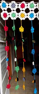 Cortinas Flores Y Mariquitas Artesanales Tejidas En Crochet