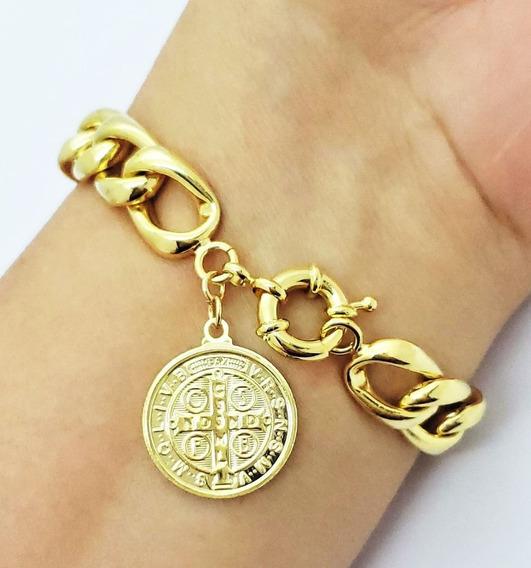 Pulseira Grumet Com Medalha São Bento Banho De Ouro 1796c