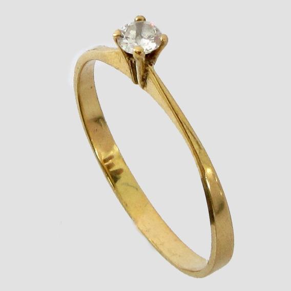 1937 Anel Solitário Com Diamante De Ouro 18k 750