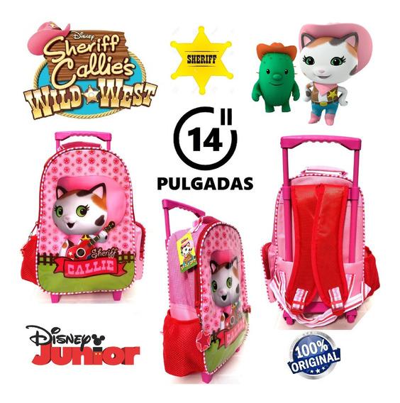 Mochila La Sheriff Callie Con Carro 14 Pulgadas Disney !!!