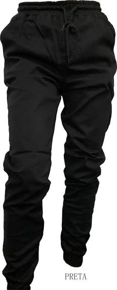 Calça Jogger Masculina Jeans Sarja Camuflada Elástico Lycra
