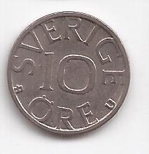 Suecia Moneda De 10 Ore Año 1983