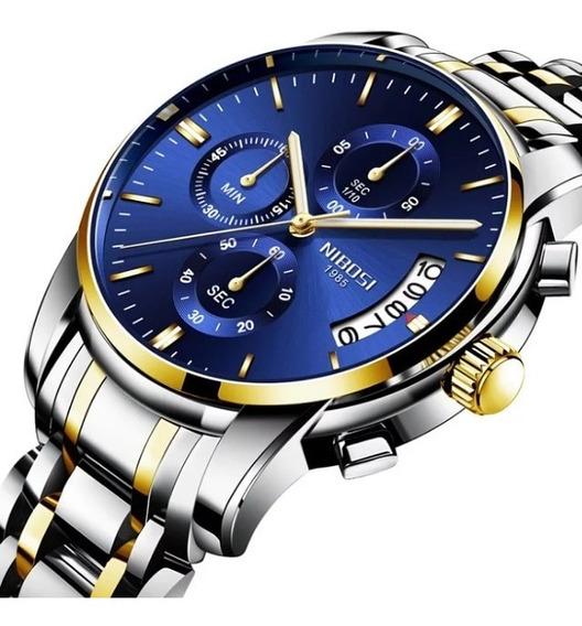 Relógio Masculino Nibosi 2353 Dourado/prata _ Azul