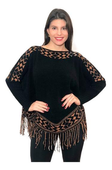 Poncho Tricô Casaco Lã Cardigan Tricot Kimono Roupas Franja