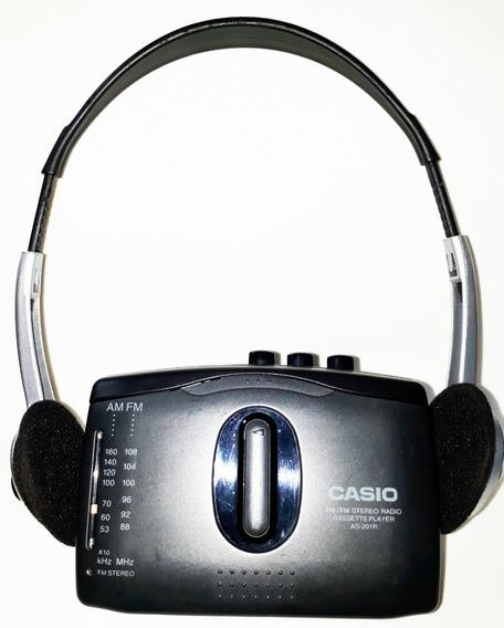 Walkman Casio As-201r (japonês) Com Rádio Am/fm (funcionando Muito Bem) ** Raro ** - Anos 1990!