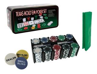 Set De Poker Tipo Casino Texas Hold Fichas Cartas Tapete!!