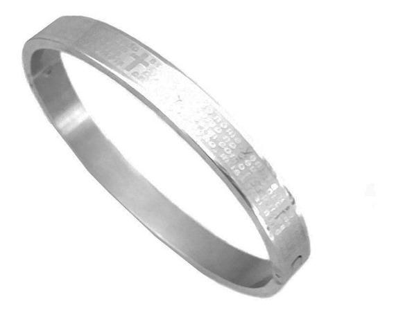 Pulseira Bracelete Masculino Oração Do Pai Nosso Aço Inox