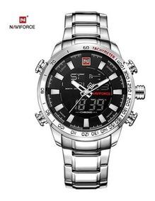 Relógio Masculino Analógico Digital Aço Inox 30m - Prata
