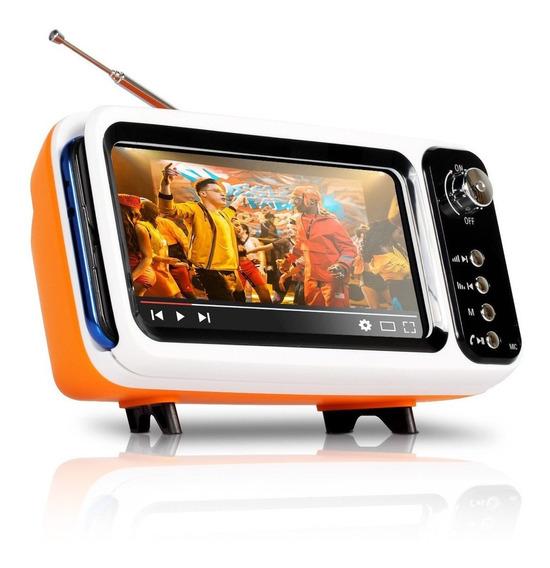 Caixa De Som Retrô Bluetooth Suporte Celular Tv Fm Usb Sd