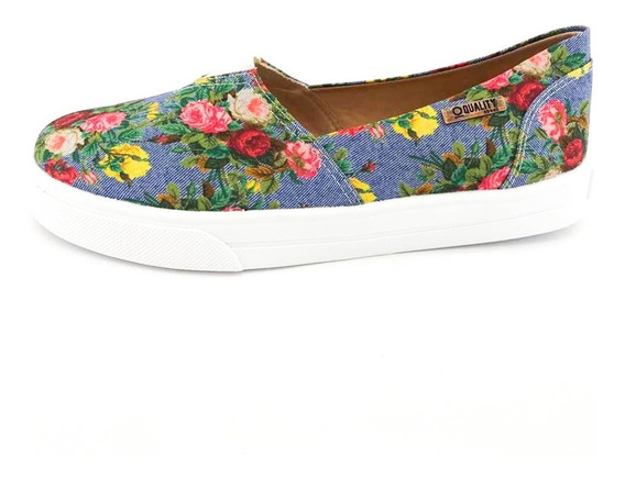 Tênis Slip On Quality Shoes Feminino 002 798 Jeans Floral