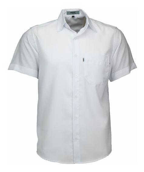 Camisa Manga Curta Tradicional Não Amassa Em Poliéster