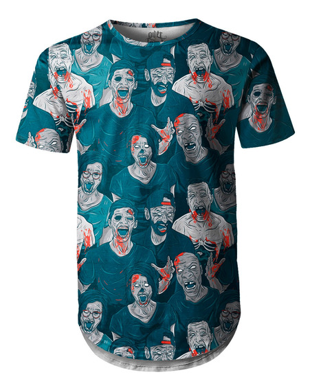 Camiseta Masculina Longline Oversized Zumbis Swag